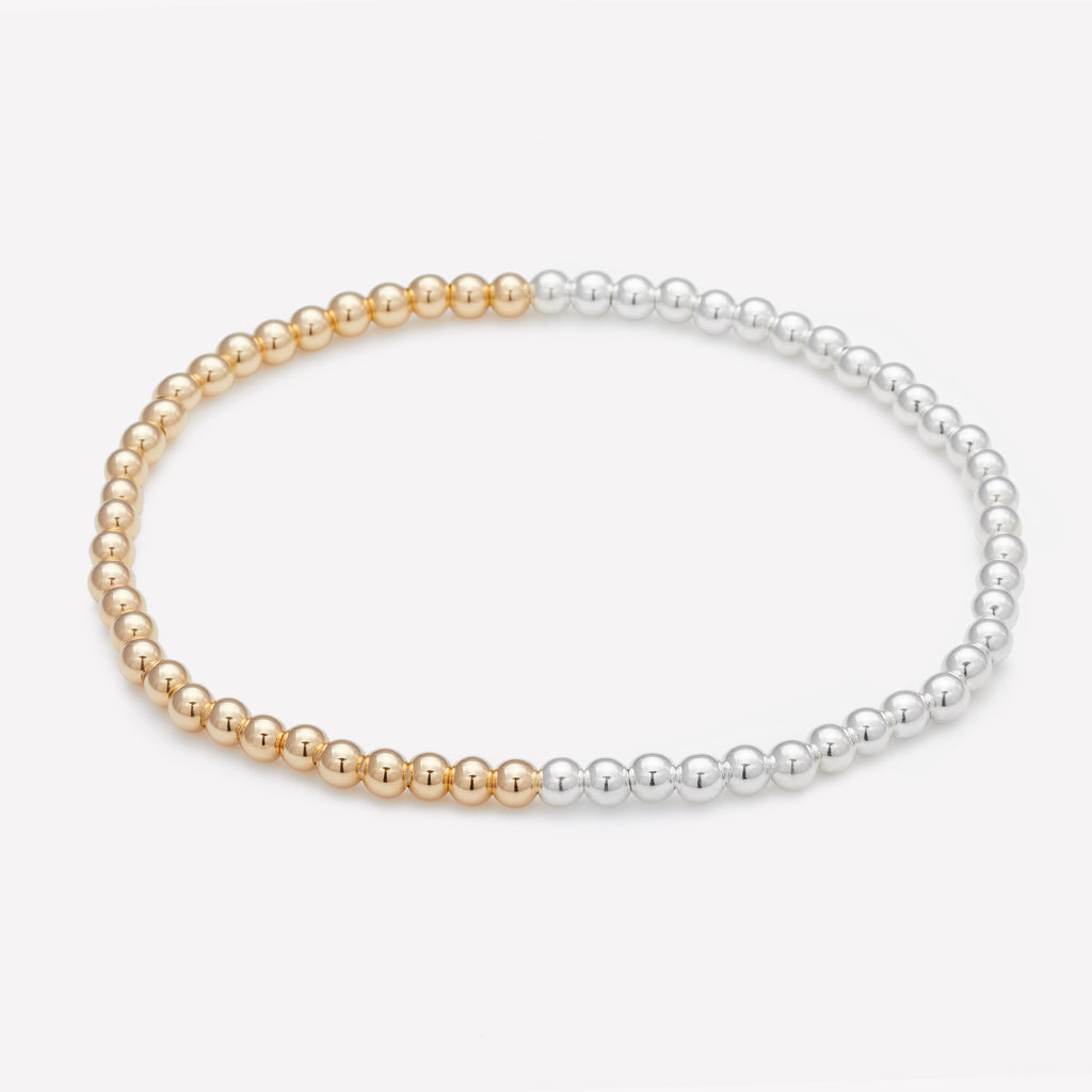 Two tone silver and yellow gold anklet for women