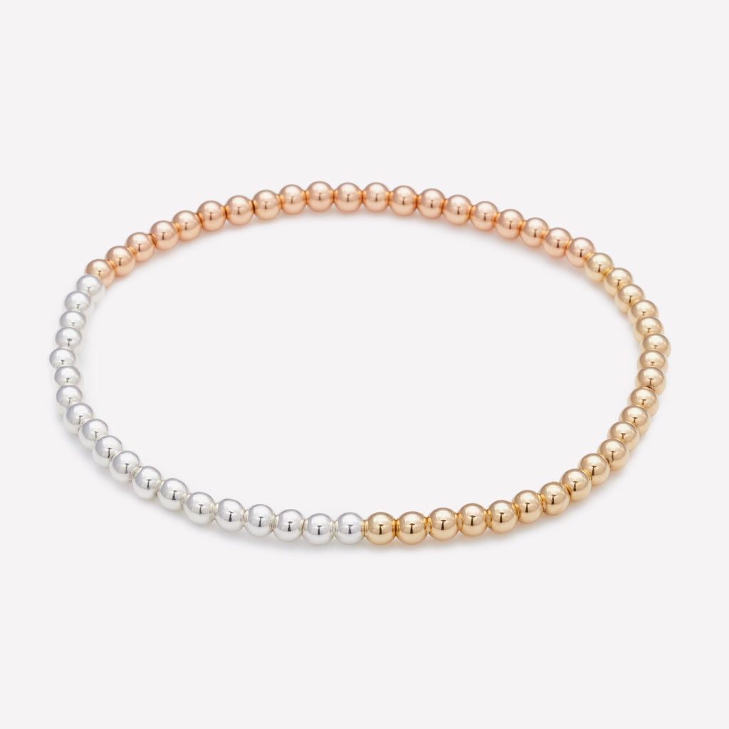 3 Tone yellow gold rose gold and silver beaded anklet for women