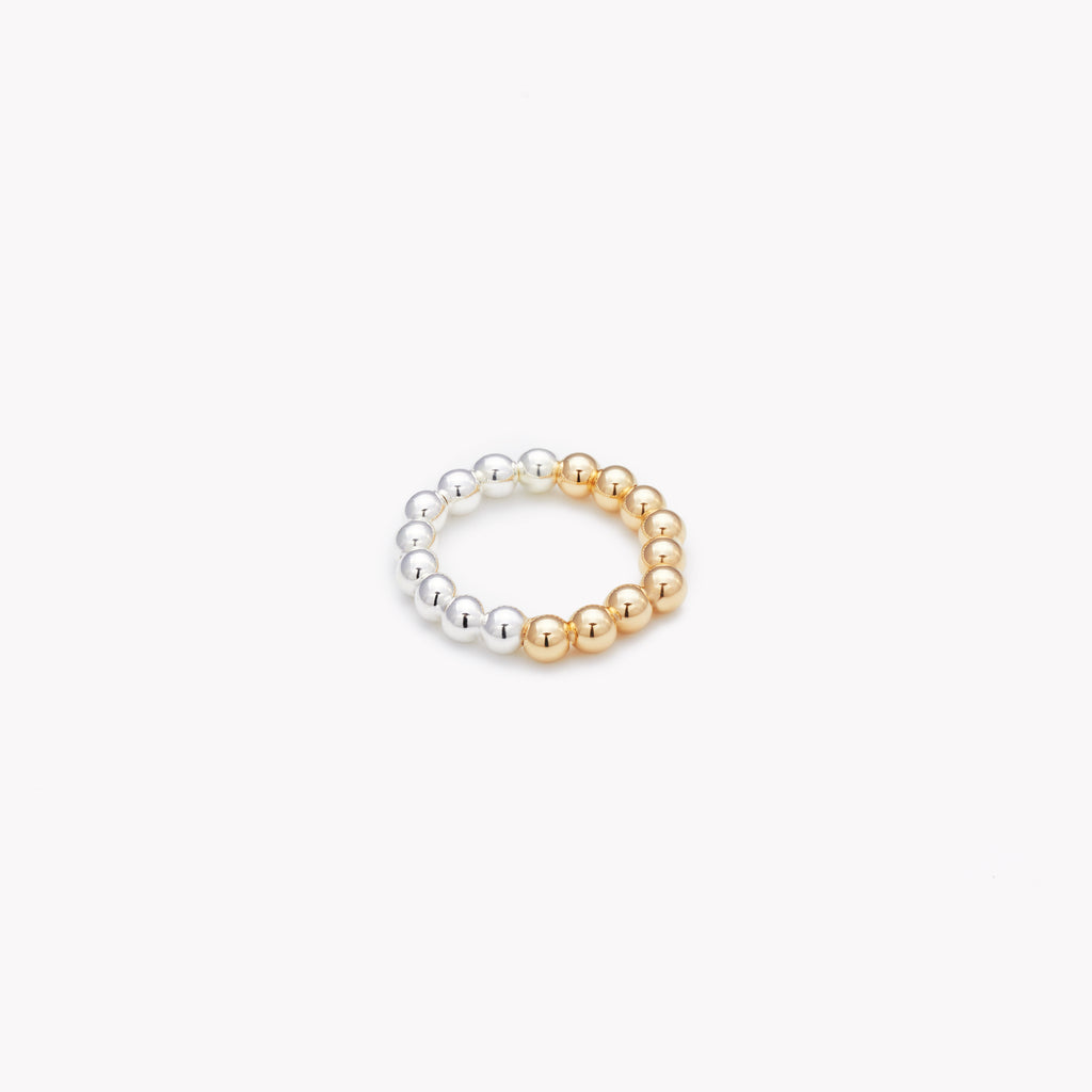 Two tone silver and yellow gold ring for women