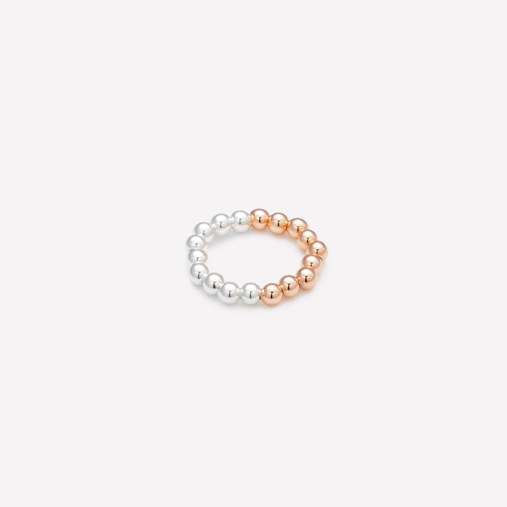 Two tone Rose gold and silver beaded ring for women as seen in vanity fair