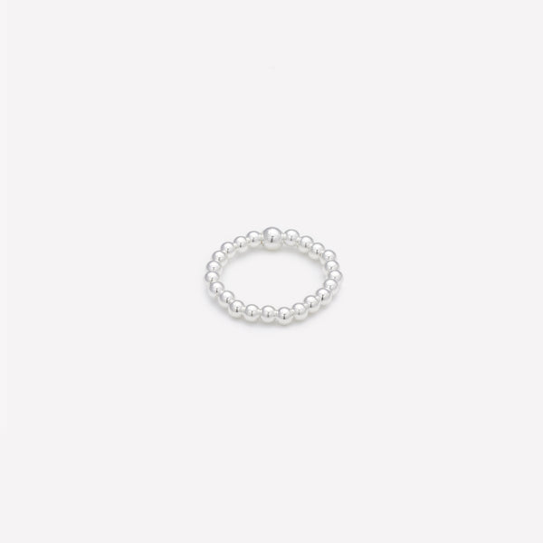 Silver beaded ring for women