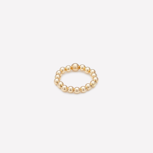 Yellow gold beaded ring for women