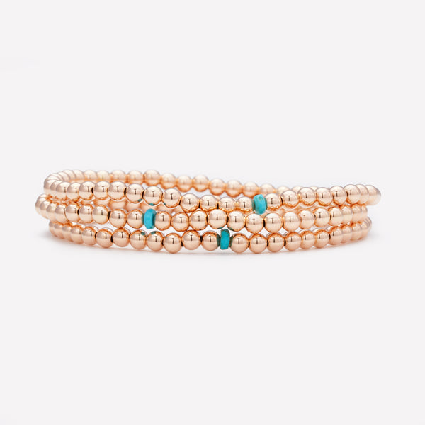 4MM 14K Rose gold beaded anklet with single turquoise crystal stack for kids