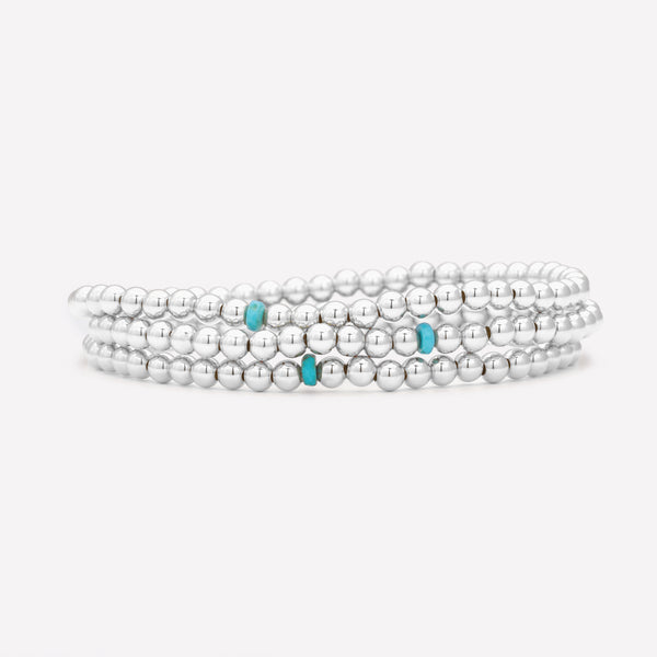 Silver beaded anklet with single turquoise crystal stack for kids