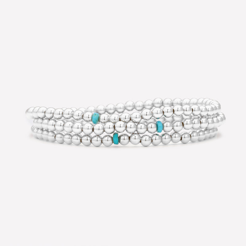 Silver beaded anklet with single turquoise nugget stack for women