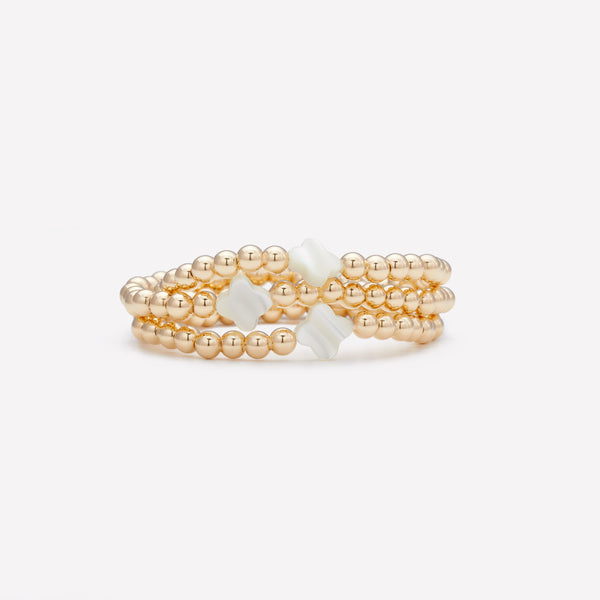 Kids Yellow Gold Beaded Bracelet with Pearl Flower Stack