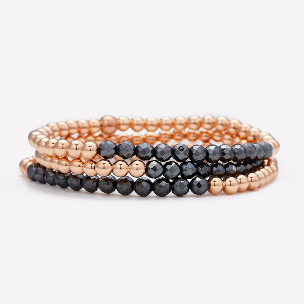 Rose gold beaded bracelet with hematite row stack for women