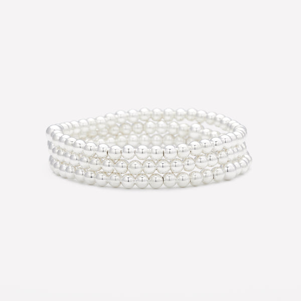 Silver beaded bracelet stack for women