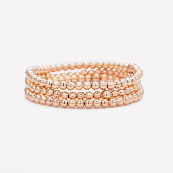 Rose gold beaded bracelet stack for women