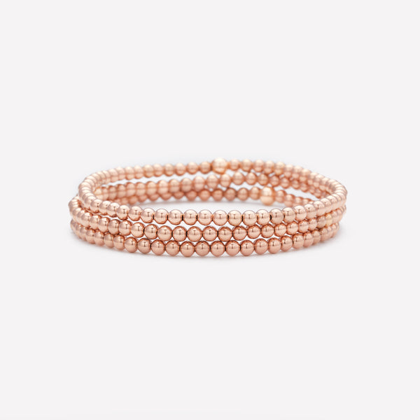 Rose gold beaded bracelet stack for kids