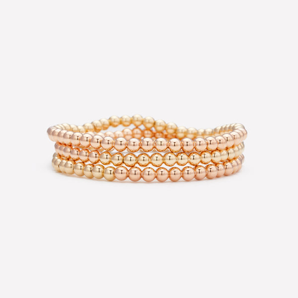 Two tone Rose gold and yellow gold beaded bracelet stack for women