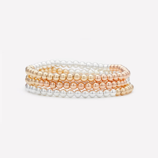 3 Tone yellow gold rose gold and silver beaded bracelet stack for women
