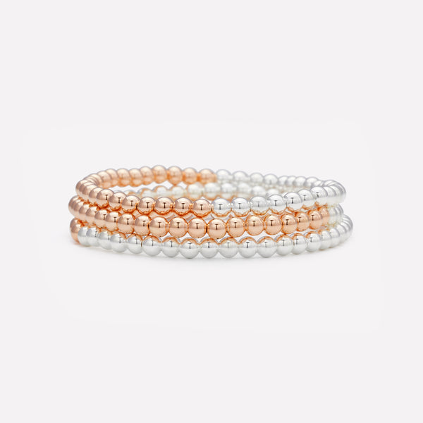 Two tone Rose gold and silver beaded bracelet stack for women