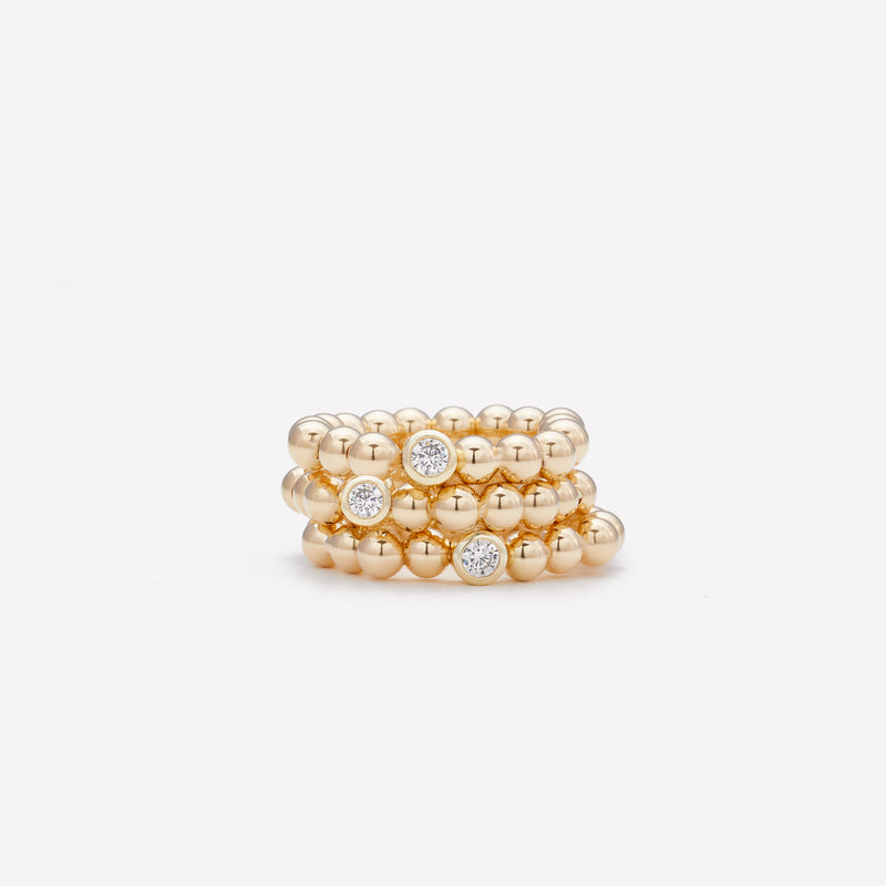 Yellow gold beaded bracelet with single gold plated Zirconia stack for women