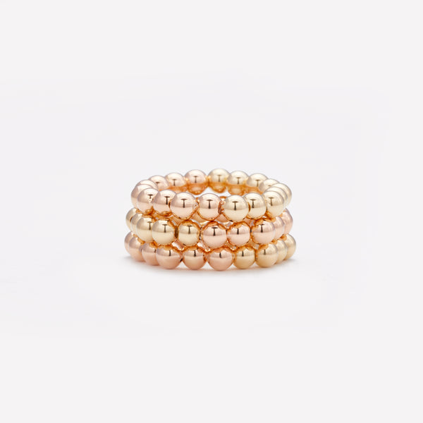 Two tone Rose gold and yellow gold ring stack for women