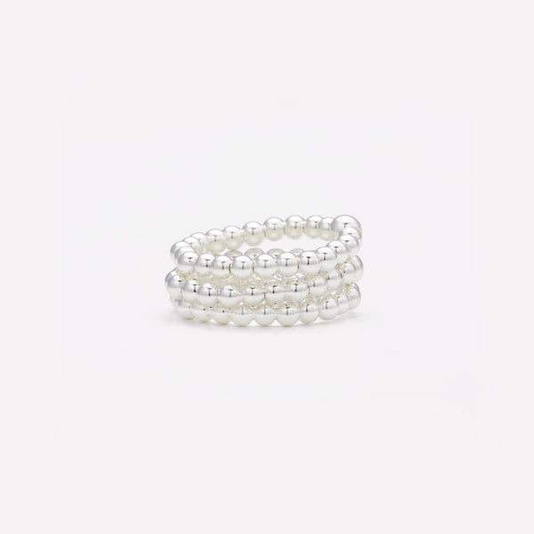 Silver beaded ring stack for women