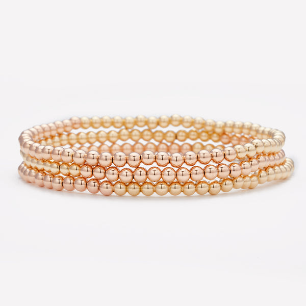 Two tone rose gold and yellow gold anklet stack for women