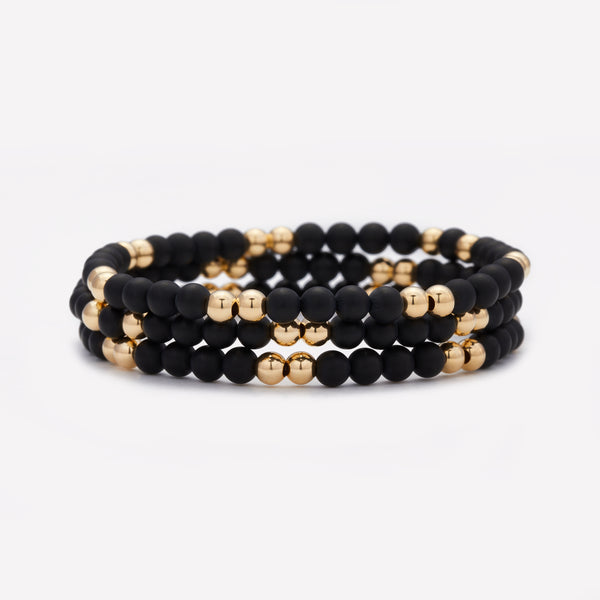 Yellow Gold and Onyx Beaded Bracelet Stack for Women