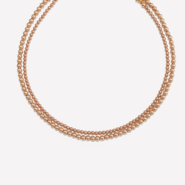 Rose gold beaded choker necklace stack for women and kids