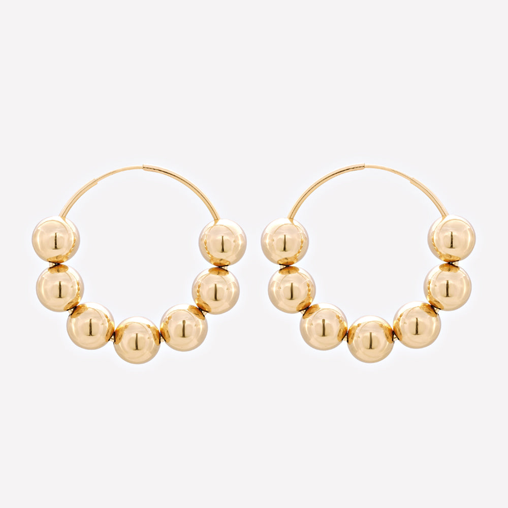 Yellow gold large hoop earrings with beads for women