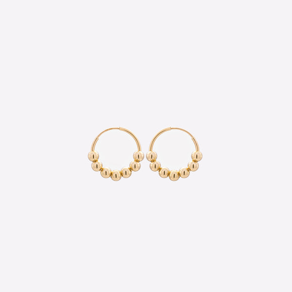 Yellow gold small hoop earrings with gold beads for kids