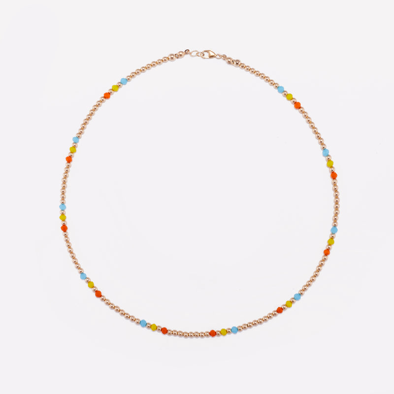 Yellow gold beaded necklace with rainbow crystals for women