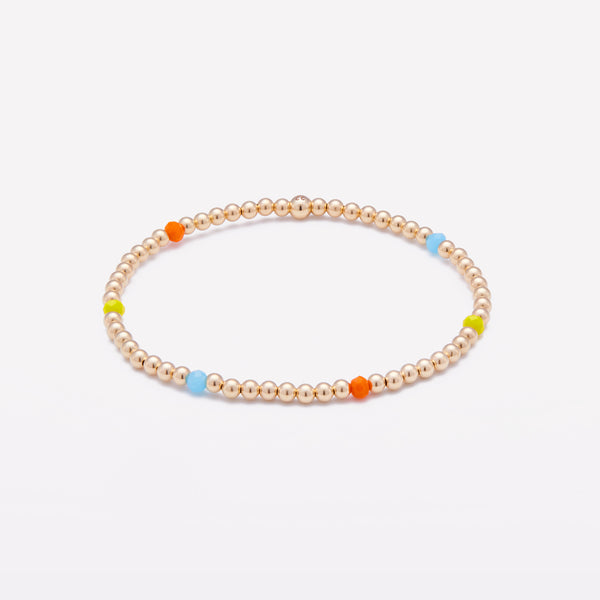 Yellow gold beaded bracelet with rainbow crystals for women