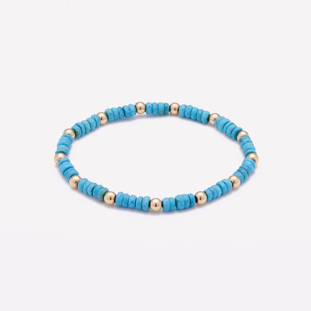 Beaded turquoise nuggets bracelet with yellow gold beads for women
