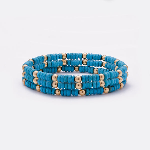 Beaded turquoise nuggets bracelet with yellow gold beads stack for women