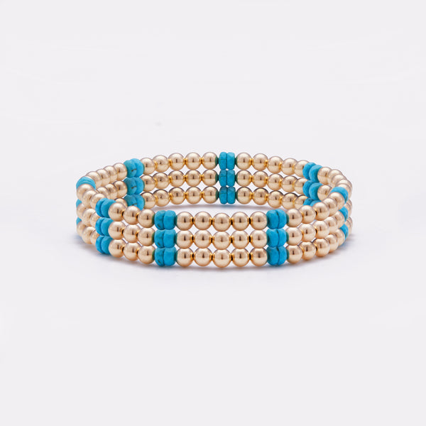 Yellow gold beaded bracelet with turquoise nuggets stack for women
