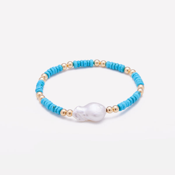 Yellow Gold Turquoise beaded bracelet with baroque pearl for women