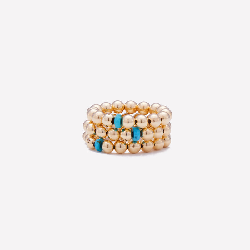 Yellow gold beaded ring with single turquoise nugget stack for women