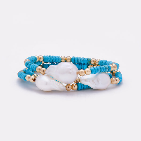 Yellow Gold Turquoise beaded bracelet with baroque pearl stack for women