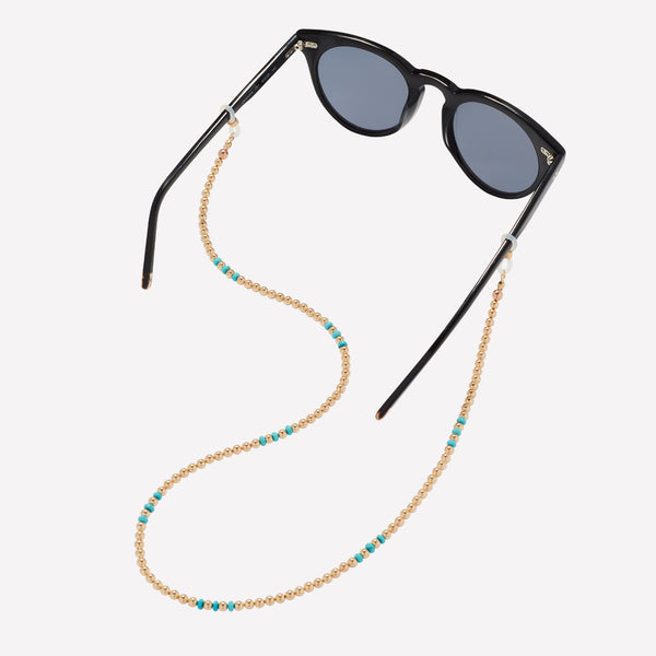 Yellow gold beaded sunglass retainer with turquoise nuggets for women
