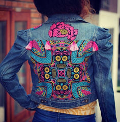 ethnic lanna hand-embroidered jean jacket