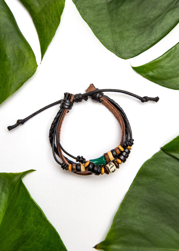 Beaded Multi-Strand Leather Bracelet