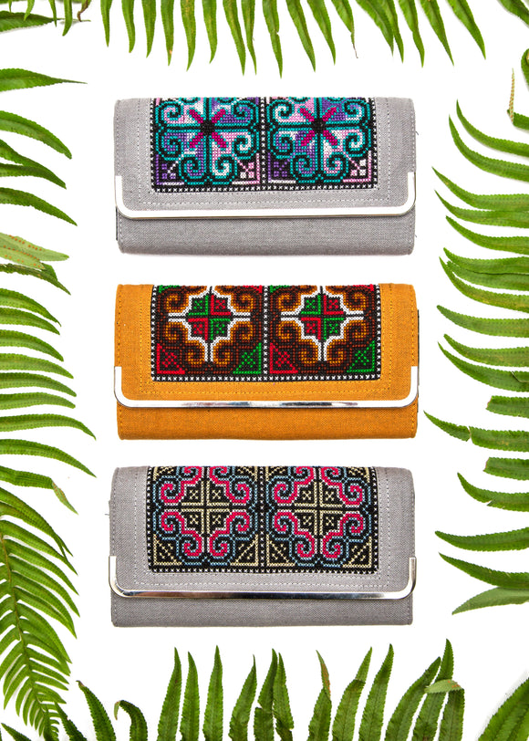 Embroidered Hemp Bifold Wallet