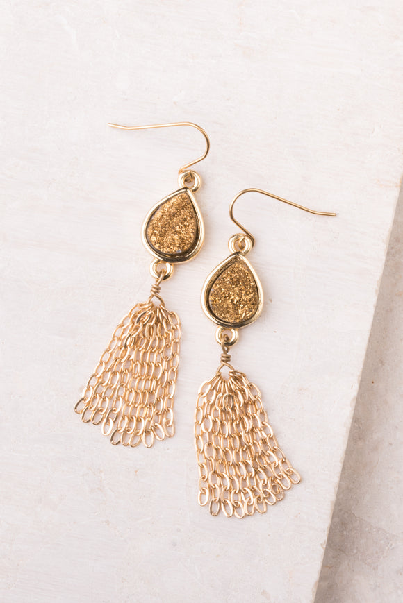 Sierra Gold Druzy Tassel Earrings