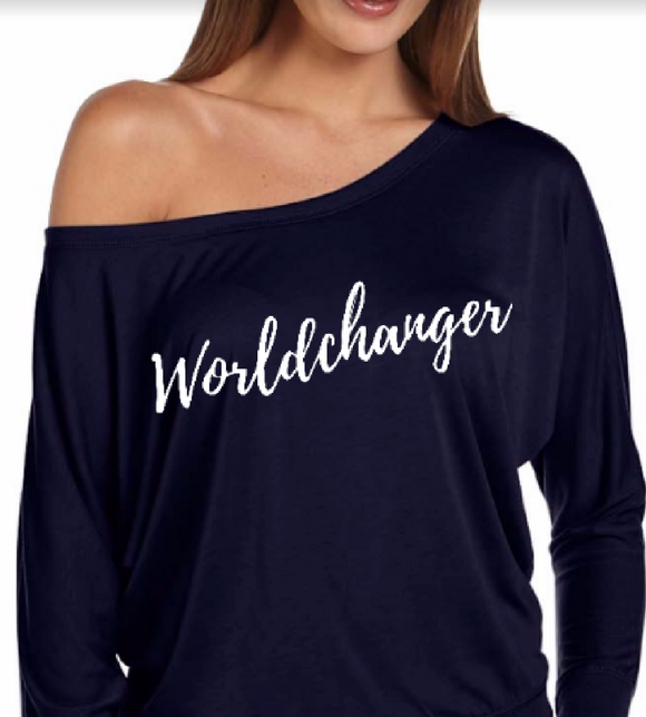 Worldchanger Off-Shoulder Sweatshirt