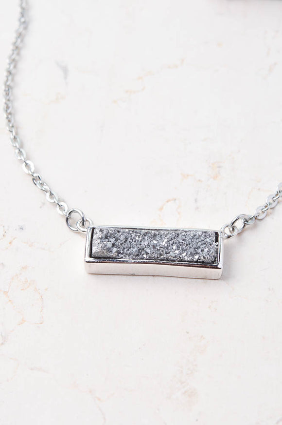 'Kelsey' Silver Druzy Bar Necklace