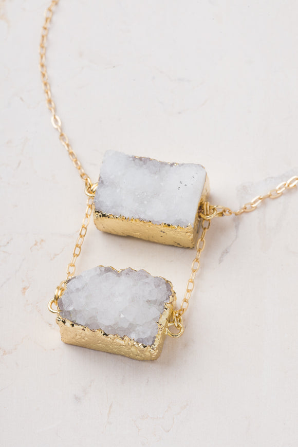 Double Take White Druzy Necklace