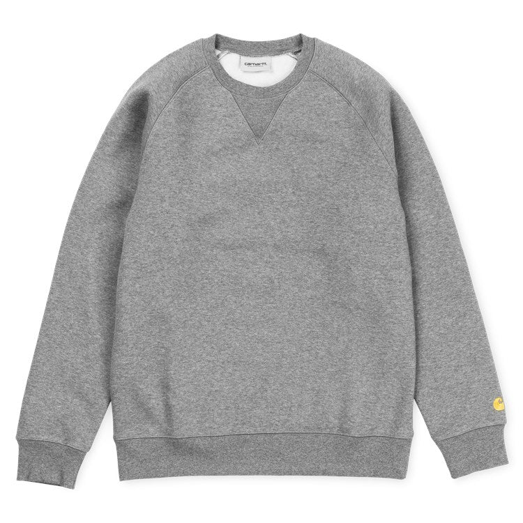 Carhartt Chase Sweat Dark Grey Heather/ Gold - Stencil