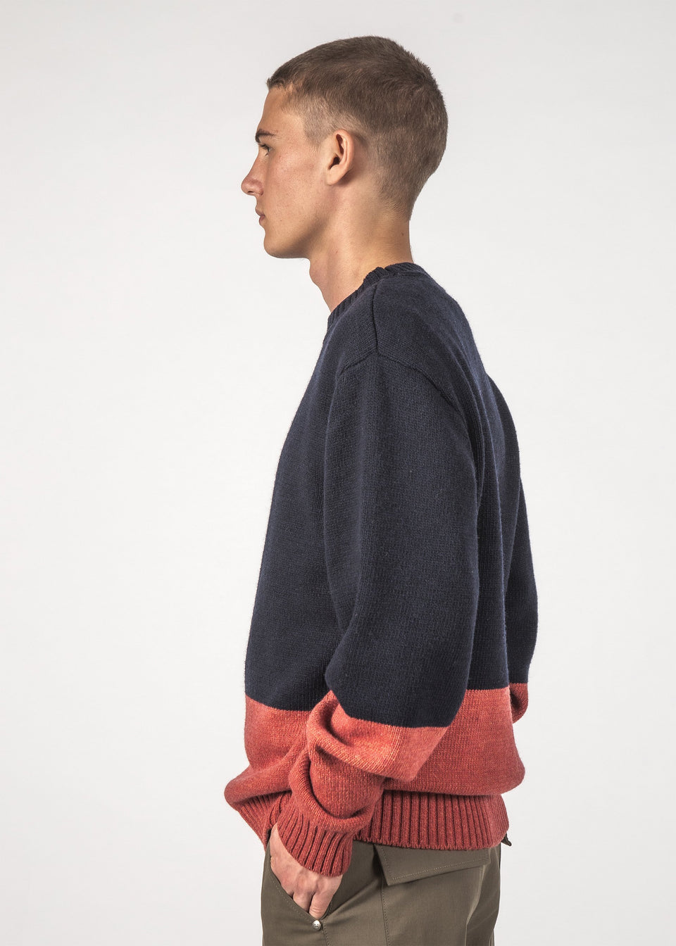 Thing Thing Wool Hall Sweater Navy/Rust - Stencil