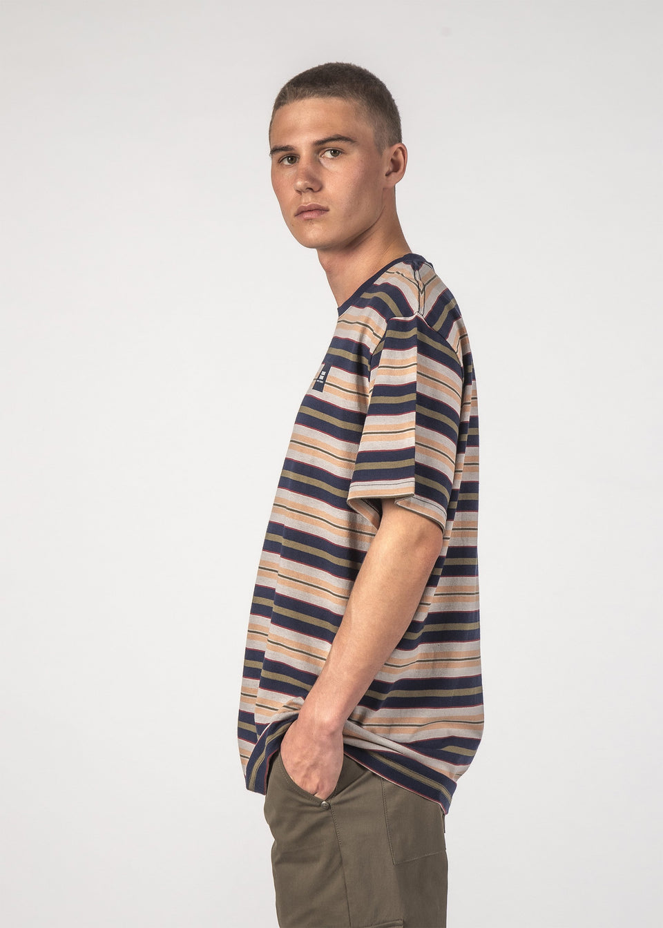 Thng Thing Striped S/S Tee Navy Stripe - Stencil