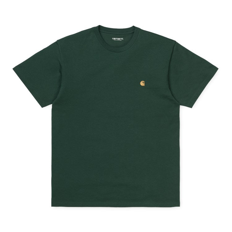 Carhartt Short Sleeve Chase T Shirt Dark Teal / Gold