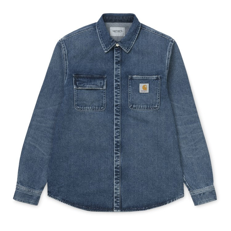 Carhartt Sailnac Shirt Jacket Blue Mid Worn Wash