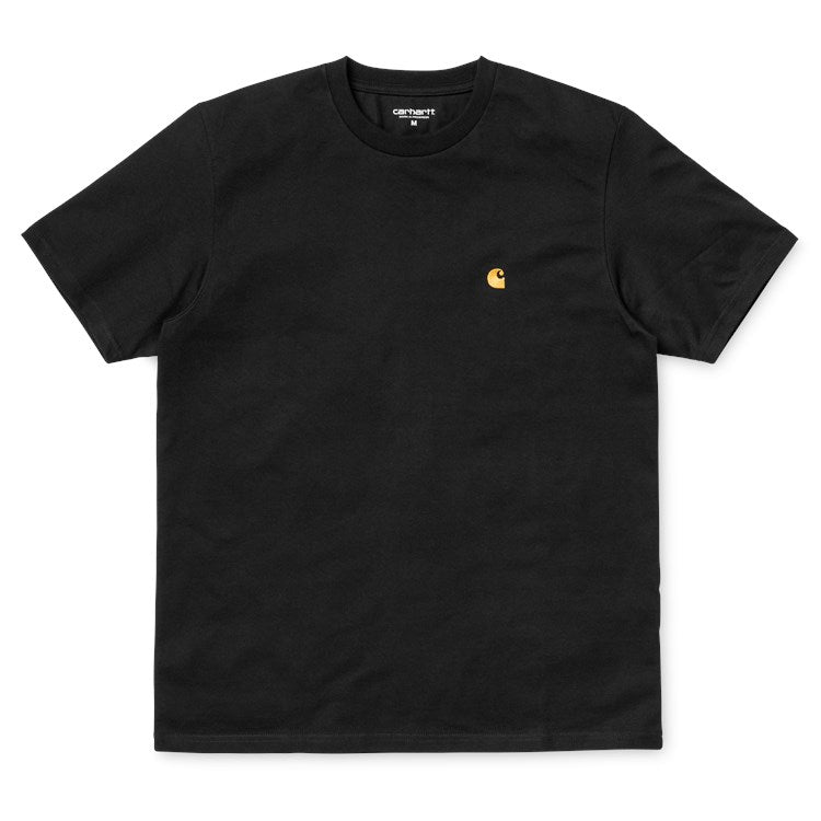 Carhartt Short Sleeve Chase T Shirt Black/ Gold - Stencil