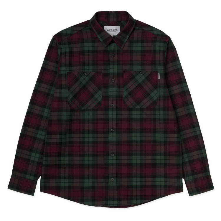 Carhartt L/S Pelkey Check Shirt Chrome Green/Merlot