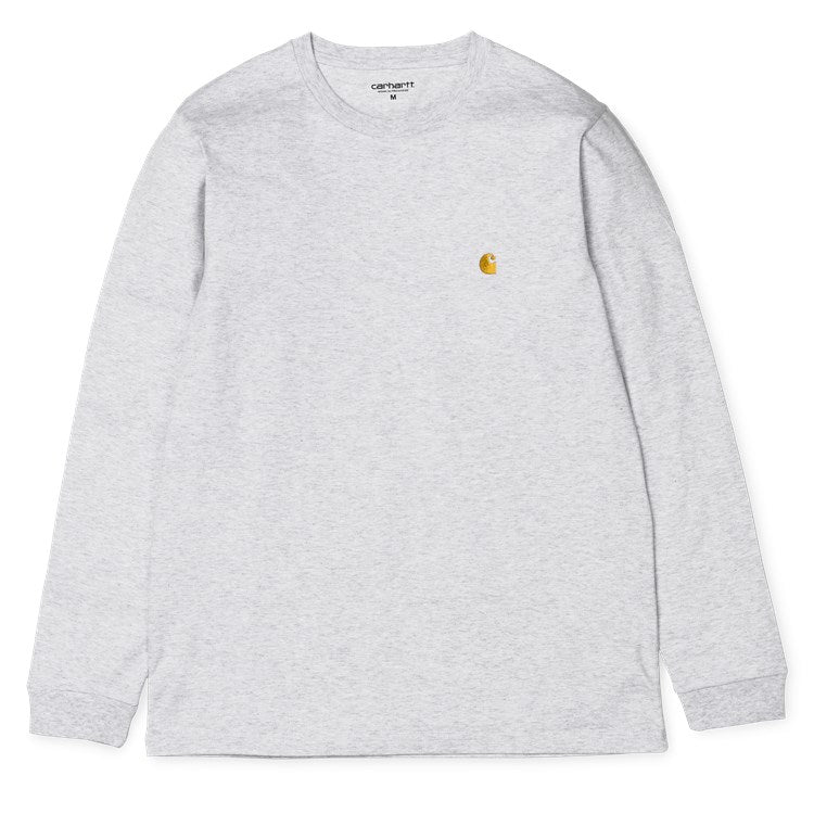 Carhartt L/S Chase T Shirt Ash Heather/Gold - Stencil