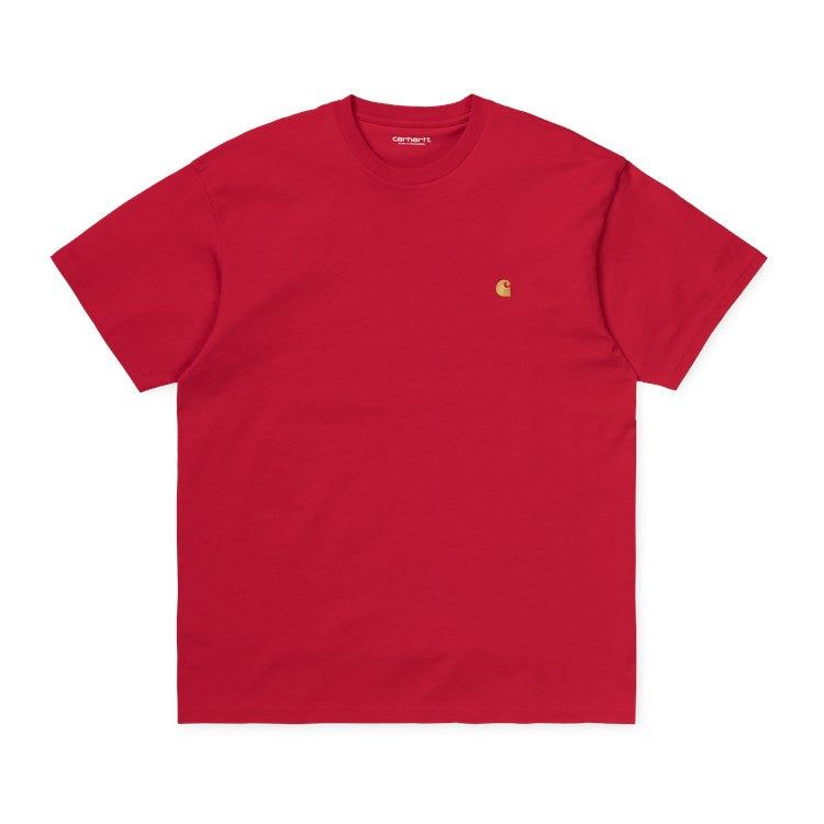 Carhartt Short Sleeve Chase T Shirt Etna Red / Gold